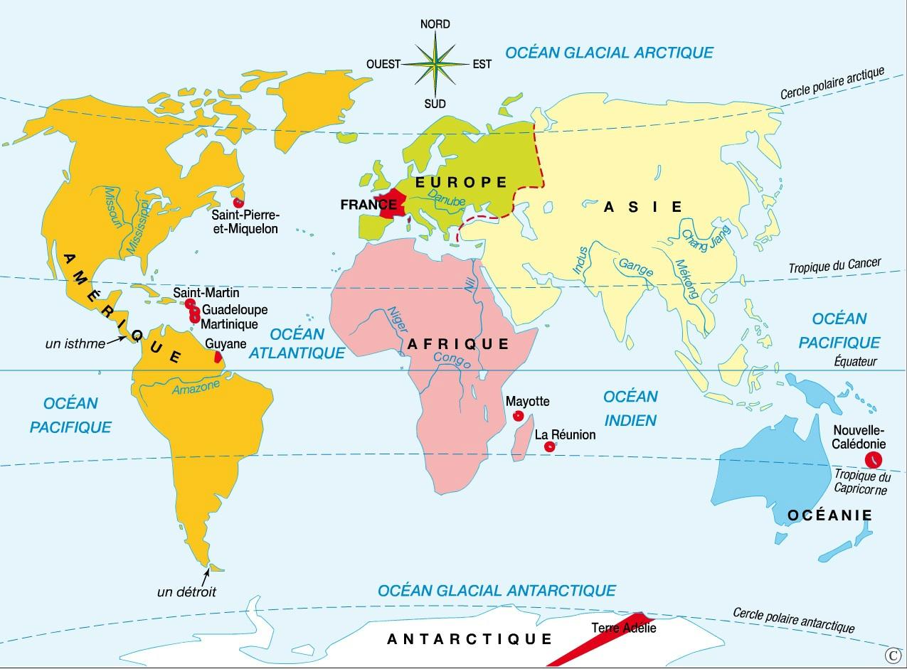 Les continents et les océans
