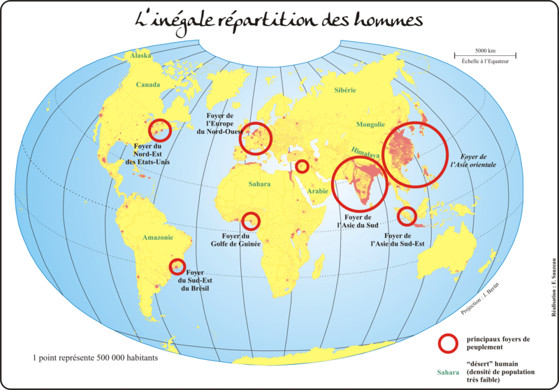 Les principaux foyers de peuplement et les espaces faiblement peuplés de la planète