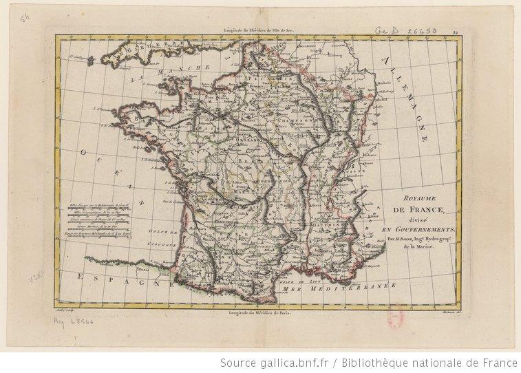 Le Royaume de France divisé en gouvernements / M. Bonne... 1787.