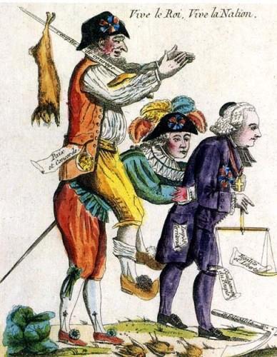 Caricature. La société suite à l'abolition des privilèges en août 1789.