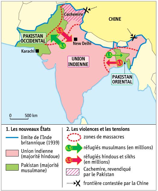 Carte Du Partage De Linde En 1947.Activite 1 Raconter Comment L Inde Devient Un Etat